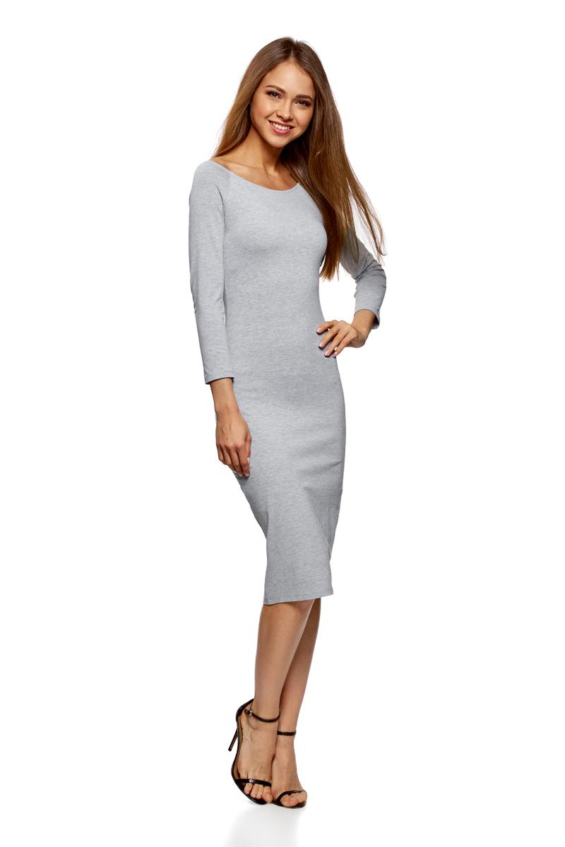 Платье oodji Ultra, цвет: светло-серый меланж, 2 шт. 14017001T2/47420/2000M. Размер S (44)14017001T2/47420/2000MСтильное платье oodji изготовлено из качественного смесового материала. Облегающая модель с горловиной-лодочкой и рукавами 3/4. В наборе 2 платья.