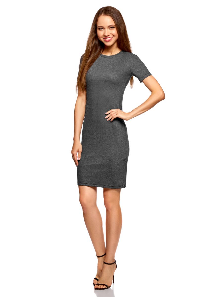 Платье oodji Ultra, цвет: черный, серый. 14011031/47349/2923N. Размер XL (50)14011031/47349/2923NПлатье от oodji выполнено из высококачественного материала в рубчик. Модель облегающего кроя с короткими рукавами и круглым вырезом горловины.