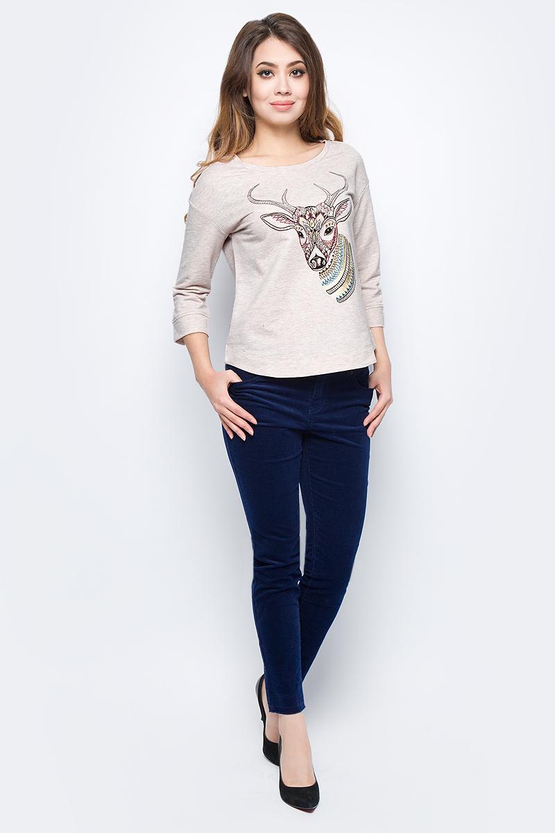 Джемпер женский Sela, цвет: бежевый меланж. St-113/1112-7432. Размер XS (42) свитшот женский sela цвет серый меланж st 113 937 7351 размер xs 42