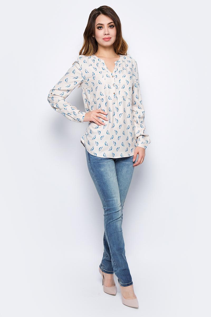 Блузка женская Sela, цвет: молочный. B-312/1002-7422. Размер 46B-312/1002-7422Стильная женская блузка Sela, выполненная из высококачественного материала, подчеркнет ваш уникальный стиль и поможет создать оригинальный образ. Модель с длинными рукавами и круглым вырезом горловины застегивается на пуговицы спереди. Манжеты рукавов также застегиваются на пуговицы. Такая блузка будет дарить вам комфорт в течение всего дня и послужит замечательным дополнением к вашему гардеробу.