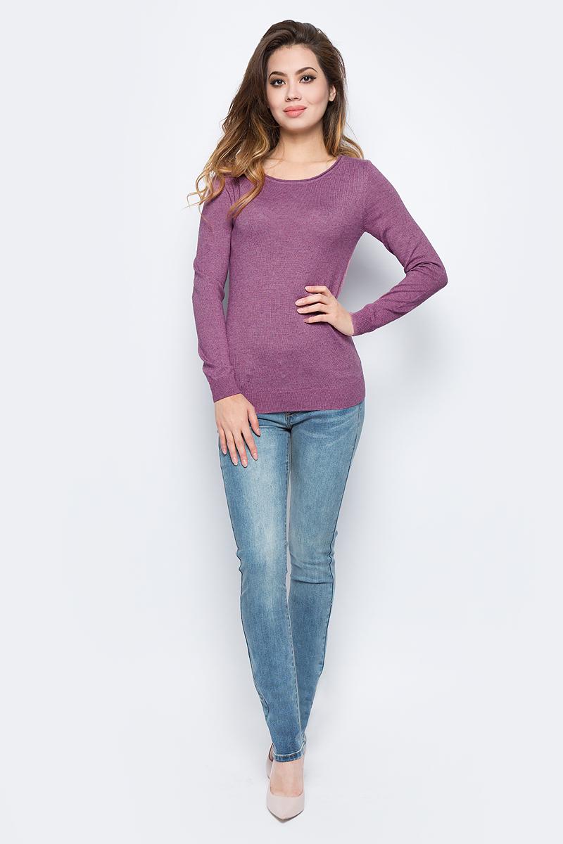 Джемпер женский Sela, цвет: серо-фиолетовый меланж. JR-114/1220-7442. Размер L (48)JR-114/1220-7442