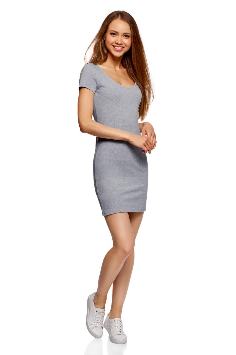 Платье oodji Ultra, цвет: светло-серый меланж, 3 шт. 14001182T3/47420/2000M. Размер M (46)14001182T3/47420/2000MТрикотажное платье oodji изготовлено из качественного эластичного хлопка. Модель выполнена с круглой горловиной и короткими рукавами.