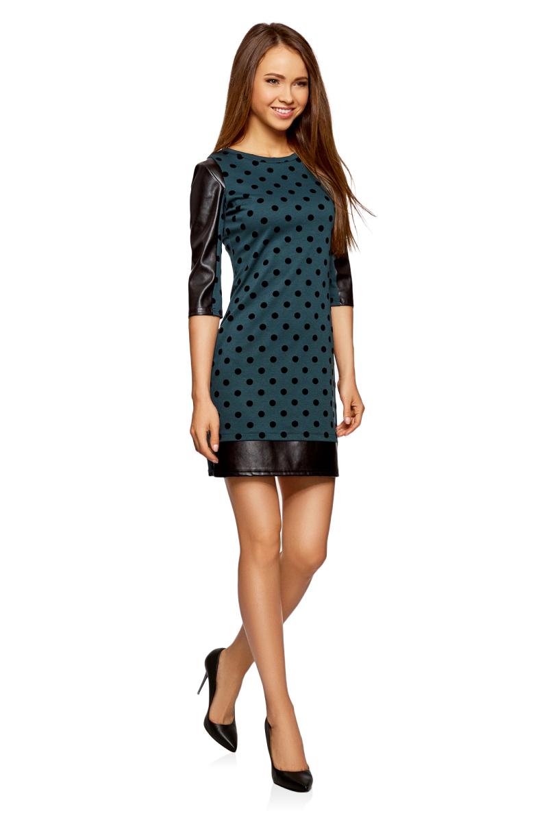 Платье oodji Ultra, цвет: темно-изумрудный, черный. 14001143-3/42376/6E29D. Размер XXS (40)14001143-3/42376/6E29DМодное платье oodji Ultra станет отличным дополнением к вашему гардеробу. Модель, выполненная из полиэстера с добавлением вискозы и полиуретана, дополнена вставками из искусственной кожи. Платье-мини с круглым вырезом горловины и рукавами 3/4 оформлено оригинальным бархатным принтом.