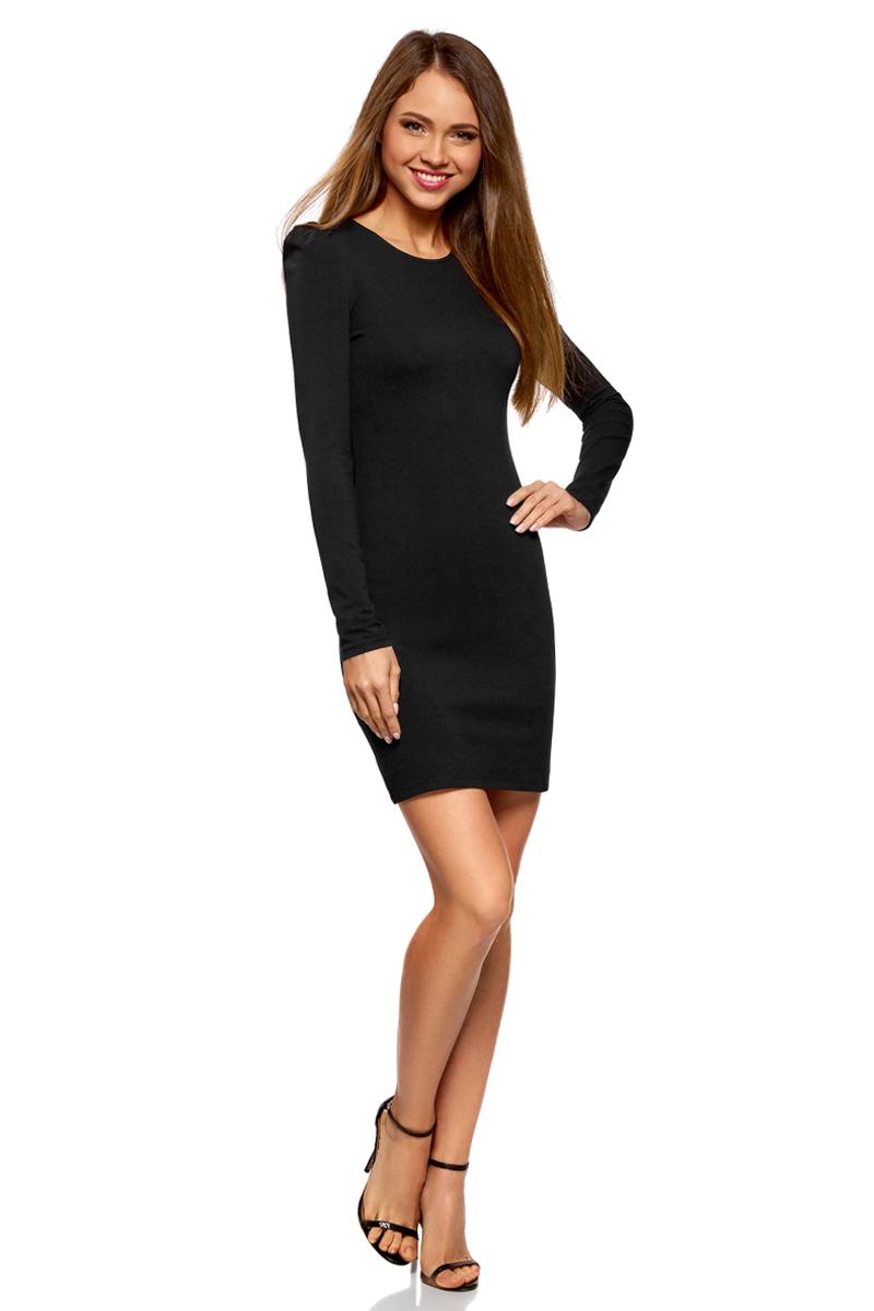 Платье oodji Ultra, цвет: черный. 14000171B/46148/2900N. Размер XS (42)14000171B/46148/2900NСтильное мини-платье от oodji выполнено из эластичного хлопкового трикотажа. Модель приталенного кроя с длинными рукавами и круглым вырезом горловины.