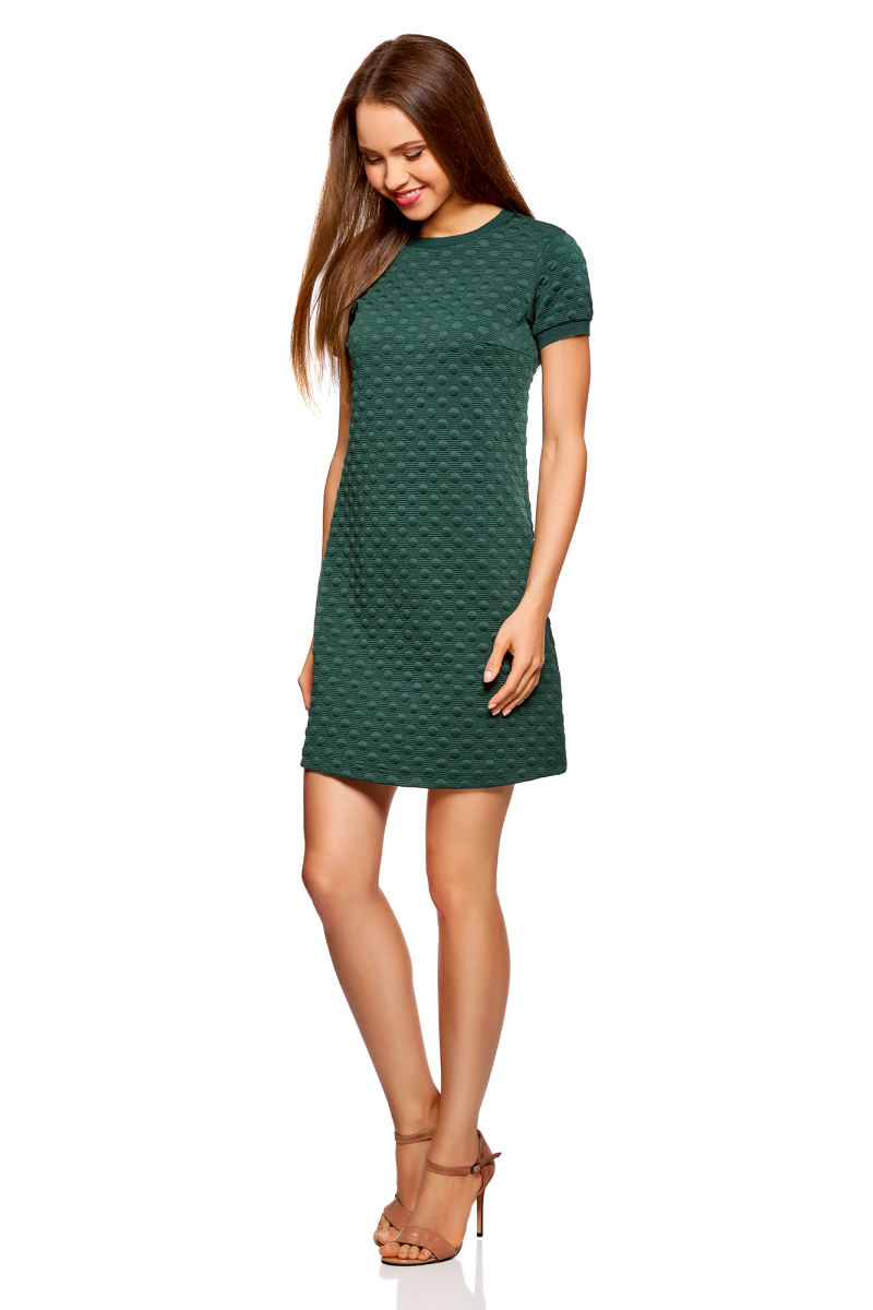 Платье oodji Ultra, цвет: темно-зеленый. 14000162-1/47198/6900N. Размер S (44)14000162-1/47198/6900NСтильное трикотажное мини-платье от oodji выполнено из фактурной ткани. Модель А-силуэта с короткими рукавами и круглым вырезом горловины на спинке застегивается на молнию.