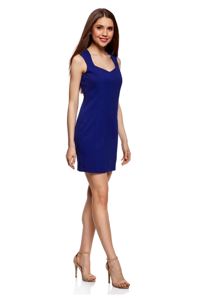 Платье oodji Ultra, цвет: синий. 12C02001B/14917/7500N. Размер 36-170 (42-170)12C02001B/14917/7500NСтильное платье oodji изготовлено из качественного плотного полиэстера. Приталенная модель выполнена с фигурным вырезом и без рукавов.