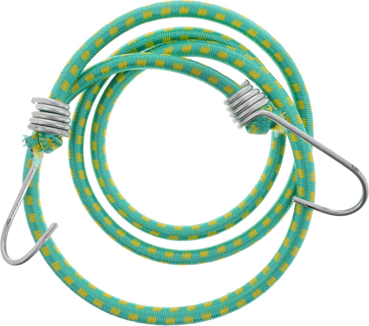 Резинка багажная МастерПроф, с крючками, цвет: зеленый, желтый, 0,6 х 110 смАС.020022_зеленый/желтыйБагажная резинка МастерПроф, выполненная из синтетического каучука, оснащена специальными металлическими крюками, которые обеспечивают прочное крепление и не допускают смещения груза во время его перевозки. Изделие применяется для закрепления предметов к багажнику. Такая резинка позволит зафиксировать как небольшой груз, так и довольно габаритный.Температура использования: -15°C до +50°C.Безопасное удлинение: 60%.Толщина резинки: 0,6 см.Длина резинки: 110 см.