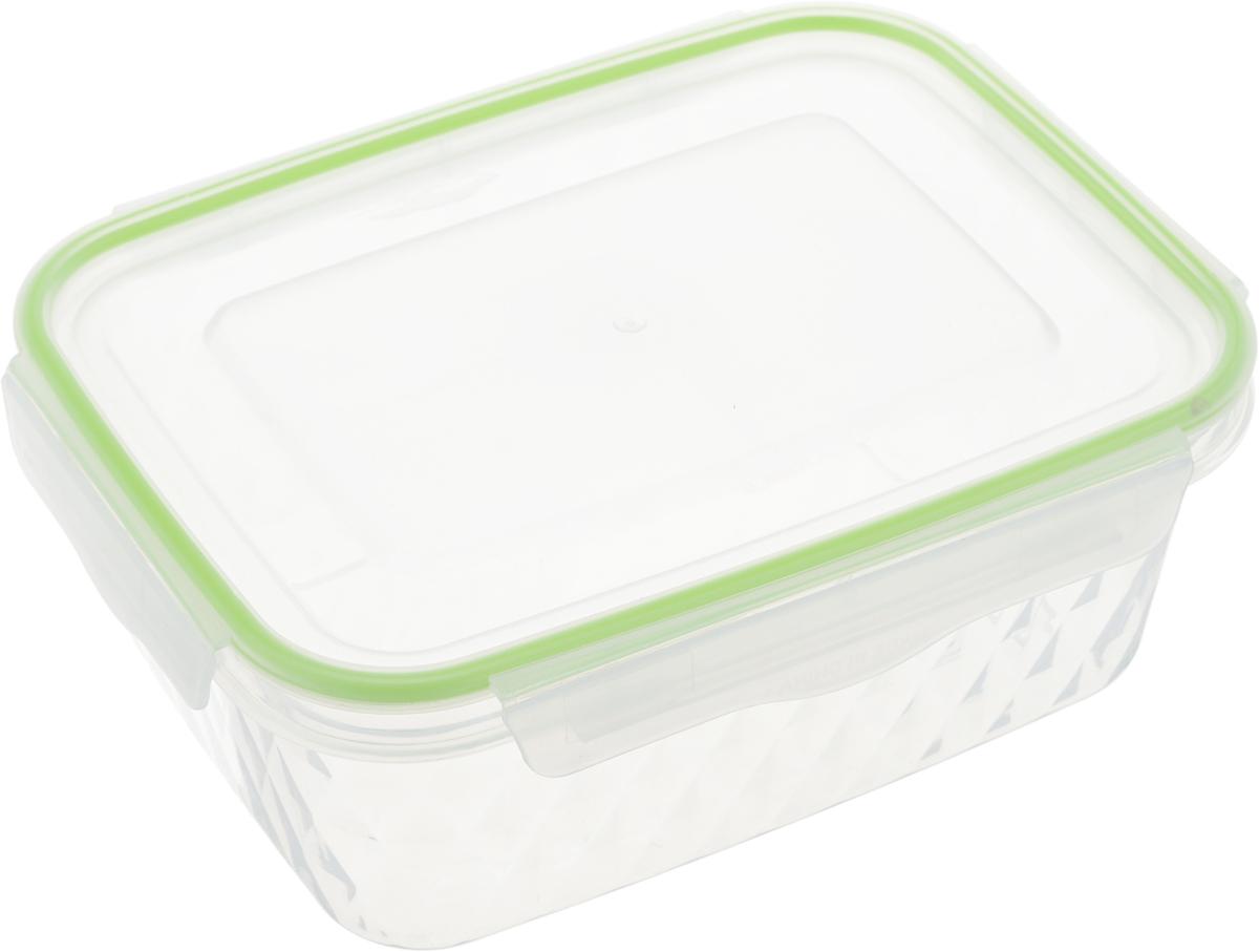 Контейнер пищевой MoulinVilla Diamond, цвет: светло-зеленый, прозрачный, 1,1 лES 064-3_светло-зеленыйПрямоугольный контейнер MoulinVilla Diamond изготовлен из высококачественного полипропилена и предназначен для хранения любых пищевых продуктов. Благодаря особым технологиям изготовления, лотки в течение времени службы не меняют цвет и не пропитываются запахами. Крышка с силиконовой вставкой герметично защелкивается специальным механизмом. Контейнер MoulinVilla Diamond удобен для ежедневного использования в быту.Можно мыть в посудомоечной машине и использовать в микроволновой печи.Размер контейнера с учетом крышки: 19 х 14 х 7,5 см.