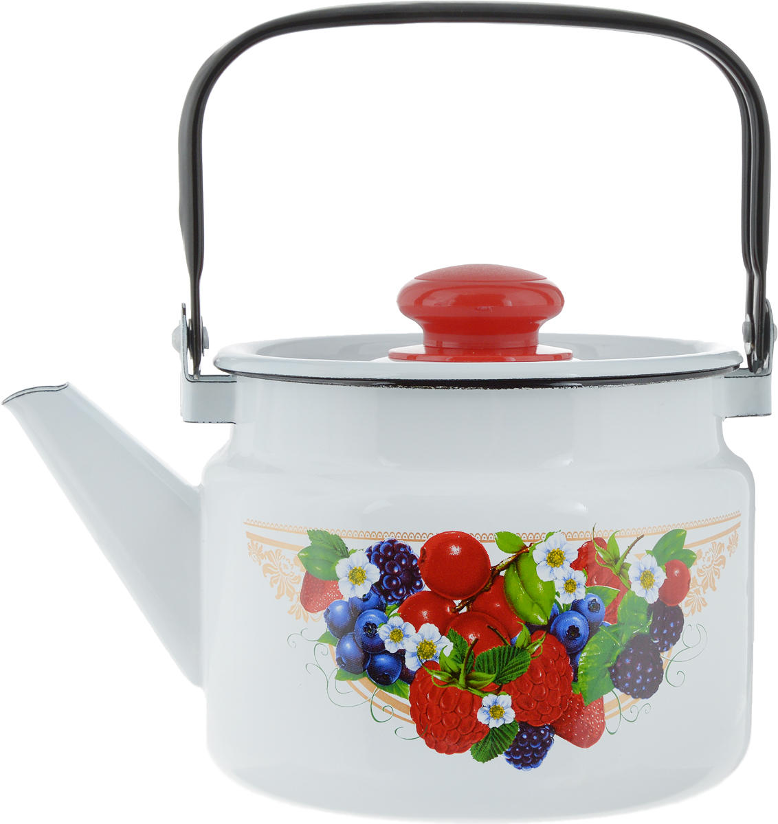 Чайник эмалированный Лысьвенские эмали  Лесные ягоды , 2 л - Посуда для приготовления