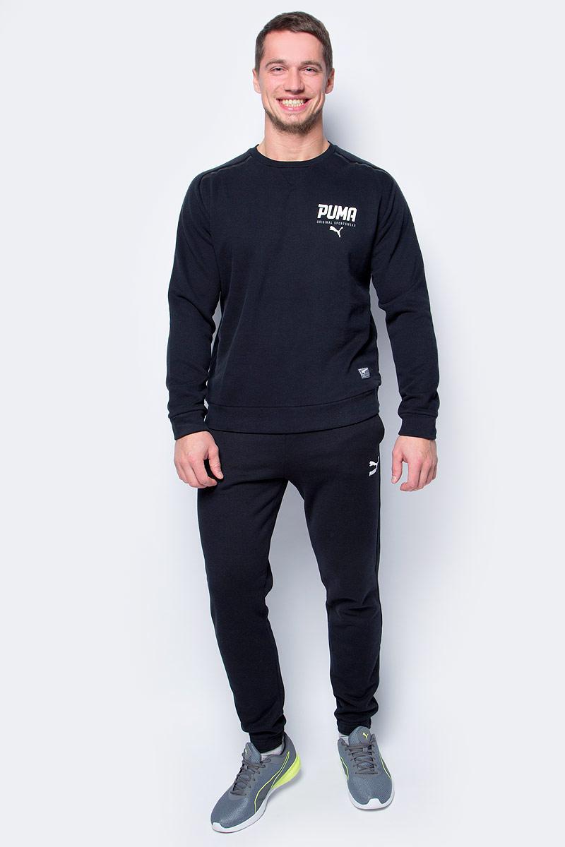 Свитшот мужской Puma STYLE Tec Crew TR, цвет: черный. 59193201. Размер L (48/50) свитшот женский adidas crew sweater цвет черный bj8291 размер 40 46 48