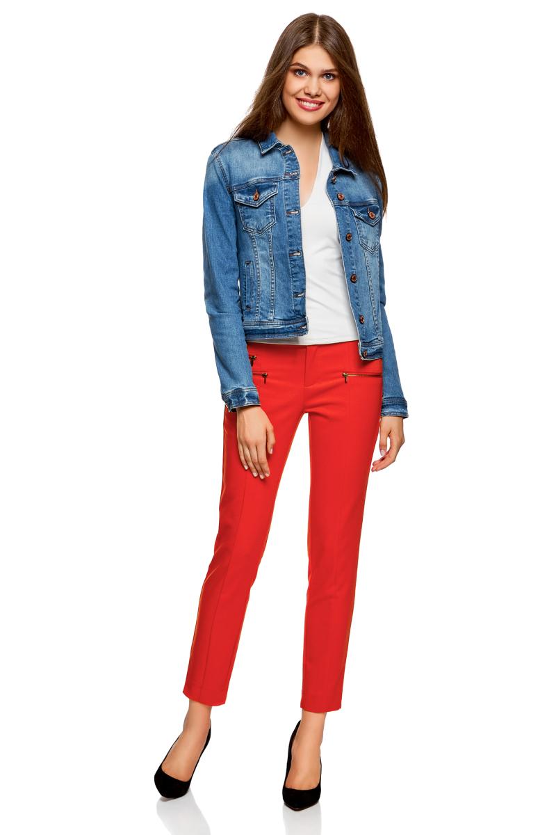 Брюки женские oodji Ultra, цвет: красный. 11706194B/35589/4500N. Размер 44-170 (50-170)