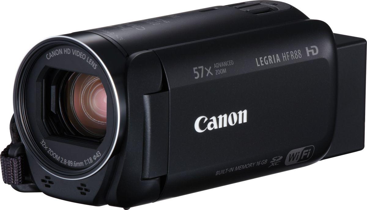 Canon LEGRIA HF R88, Black цифровая видеокамера1959C002С легкостью снимайте и делитесь записями важных событий в формате HD с помощью мощной видеокамеры Canon LEGRIA HF R88 с широкоугольным объективом, возможностями подключения и усовершенствованным 57-кратным зумом.С легкостью снимайте и делитесь записями важных семейных событий с помощью этой компактной видеокамеры с широкоугольным адаптером, возможностями подключения, универсальным усовершенствованным 57-кратным зумом и аккумулятором повышенной емкости. Эффективные технологии автоматически обеспечивают великолепные результаты.Снимайте видео в формате Full HD с превосходным качеством звука и изображения (даже в условиях слабого освещения) благодаря множеству эффективных технологий, в числе которых процессор DIGIC DV 4.Снимайте эффектное видео, используя быстрое переключение между режимом замедленной и ускоренной съемки. Затем поэкспериментируйте с функцией Touch Decoration, кинофильтрами и улучшенным режимом «Малыш».Записывайте видео дольше и без лишних усилий благодаря эргономичному корпусу и интуитивно понятному сенсорному управлению. Просто наведите камеру и снимайте потрясающие видеоролики, затем делитесь результатами по Wi-Fi и NFC.Оцените универсальные возможности съемки и плавность видеозаписей с великолепной детализацией, используя эту камеру с усовершенствованным 57-кратным зумом, системой интеллектуальной стабилизации изображения, широкоугольным адаптером и функцией помощи в кадрировке при зумировании.Снимайте дольше на одной зарядке и будьте всегда готовы запечатлеть интересный момент благодаря аккумулятору повышенной емкости; одновременно записывайте видео в максимальном качестве и легко публикуйте файлы.