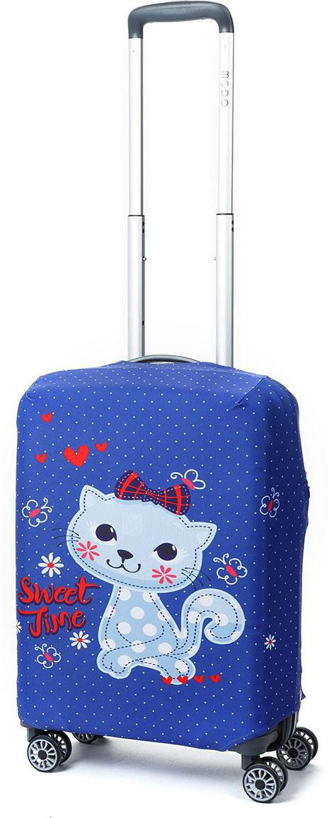 Чехол для чемодана Mettle Pussycat, цвет: синий, голубой. Размер S (высота чемодана: 50-55 см)