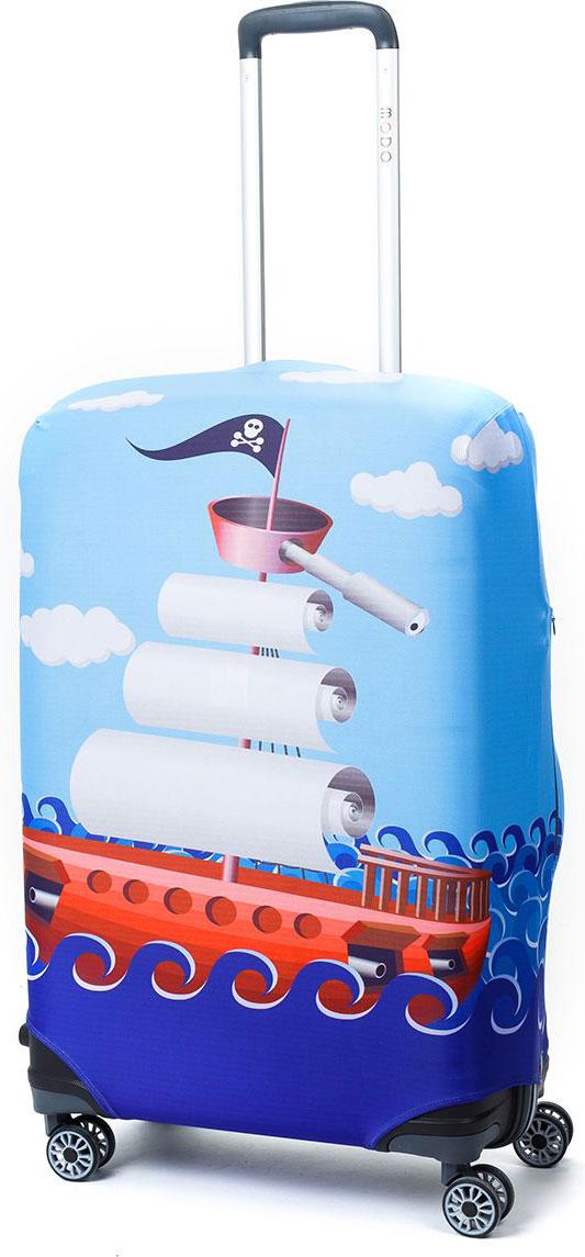 Чехол для чемодана Mettle River Boat, цвет: голубой. Размер M (высота чемодана: 65-75 см)