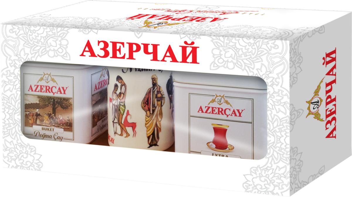 Азерчай Букет + Экстра подарочный набор черного чая с бокалом, 200 г4630006822847Azercay Buket - крупнолистовой черный байховый чай высшего сорта. Azercay Extra - смесь высококачественных чаев, собранных на чайных плантациях регионов Азербайджана Ленкоран и Астара. Чай особым способом ароматизирован натуральным бергамотом. Чай с мягким, нежным и приятным вкусом, с блестящим темно-красным цветом. Бокал с изображением Девичьей башни.