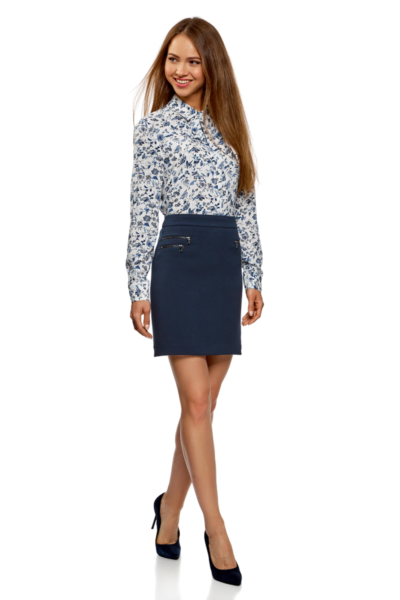 Юбка oodji Ultra, цвет: темно-синий. 11602180/31291/7900N. Размер 44-170 (50-170) пуловеры oodji пуловер
