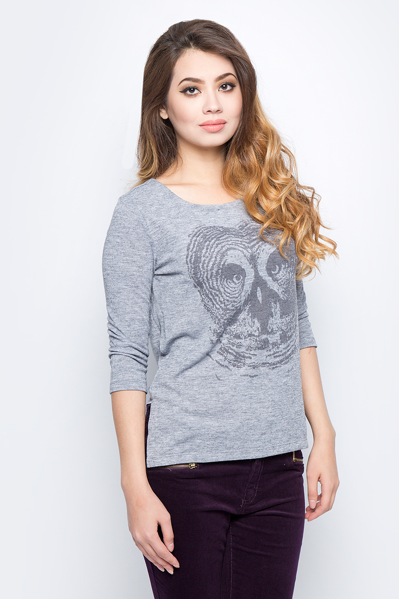 Лонгслив женский Sela, цвет: серый меланж. T-311/1098-7422. Размер XS (42) свитшот женский sela цвет серый меланж st 113 937 7351 размер xs 42