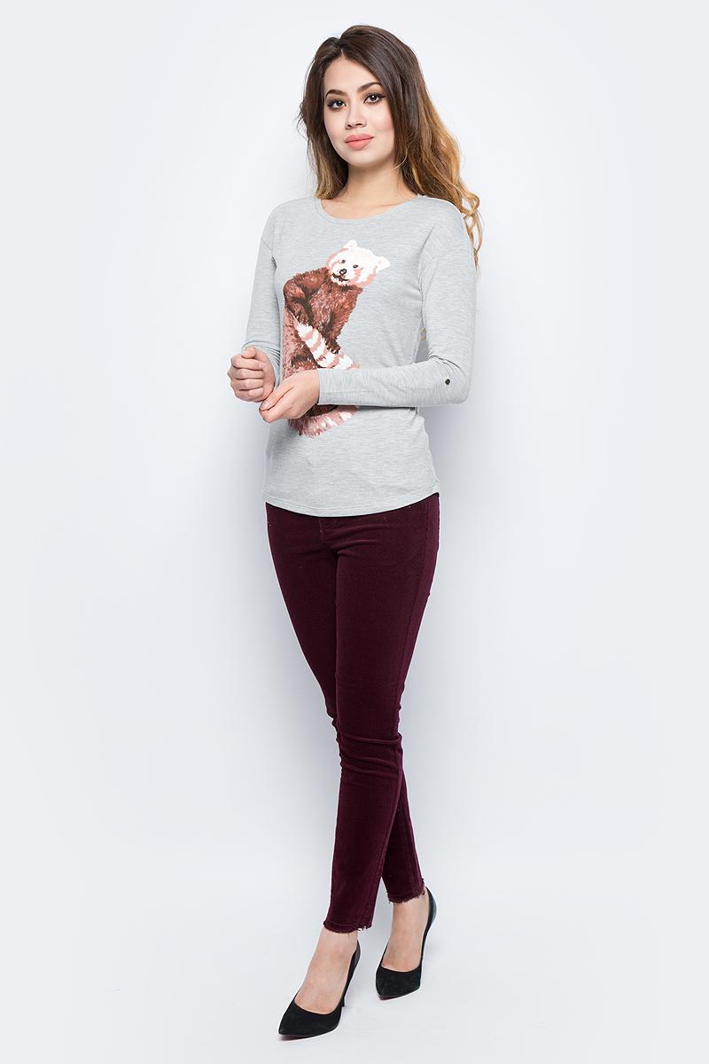 Лонгслив женский Sela, цвет: лунный блик меланж. T-311/1145-7422. Размер M (46)T-311/1145-7422Модный женский лонгслив Sela изготовлен из высококачественного материала. Модель с круглым вырезом горловины и длинными рукавами оформлен оригинальным принтом. Этот лонгслив послужит отличным дополнением к вашему гардеробу.