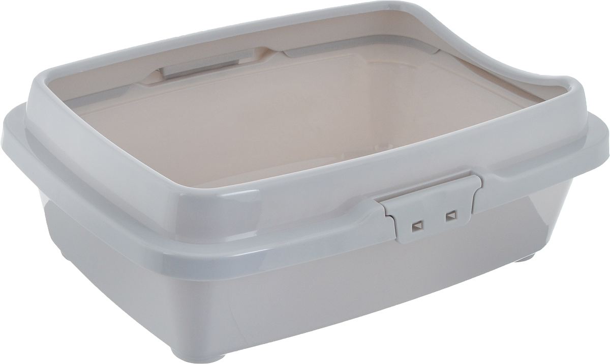 Туалет для котят DD Style Догуш, с бортом, цвет: светло-серый, 26,5 х 36,5 х 12,5 см чаша для мультиварки steba dd 1eco