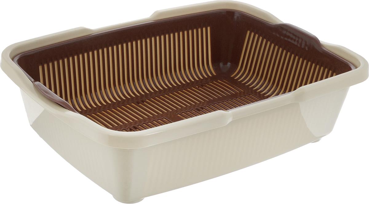Туалет для кошек DD Style Догуш, с сеткой, цвет: коричневый, бежевый, 23 х 42 х 11 смТуалет Догуш для кошек с сеткой кор.-беж.(уп.30) арт.233Туалет для котят DD Style Догуш изготовлен из качественного прочного пластика. Благодаря внутренней сетке, туалет можно использовать как с наполнителем, так и без него. Это самый простой в употреблении предмет обихода для котят.Туалет легко моется водой.
