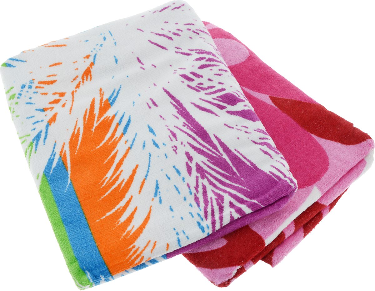 """Набор пляжных полотенец """"Bonita"""", цвет: розовый, белый, красный, 75 х 150 см, 2 шт"""