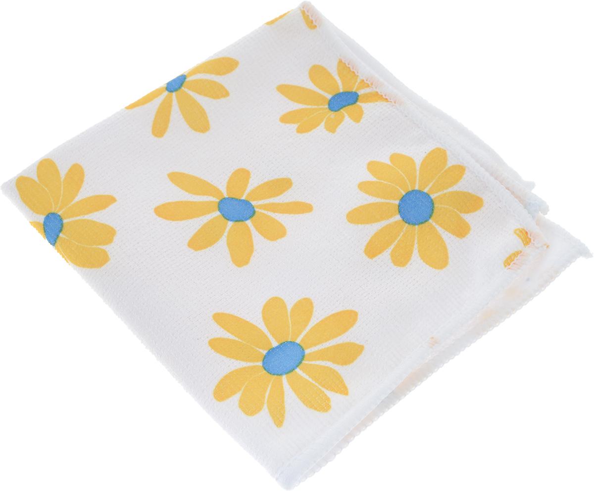 Салфетка универсальная Сelesta. Ромашки, цвет: белый, желтый, синий, 30 х 30 см4660_ромашкиУниверсальная салфетка Сelesta. Ромашки предназначена для сухой и влажной уборки, подходит для ухода за любыми поверхностями. Изделие изготовлено на 80% из полиэстера и на 20% из полиамида. Благодаря специальной структуре волокон микрофибры позволяет очищать поверхность без использования моющих средств. Салфетка обладает отличными впитывающими свойствами. Не оставляет разводов и ворсинок.Размер салфетки: 30 см х 30 см.