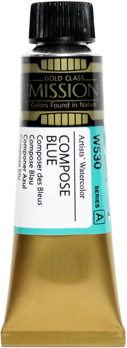 Mijello Акварель Mission Gold W530 Синий составной 15 мл MWC-W530MWC-W530Серия акварельных красок Корейского производителя Mijello - Mission Gold состоит из 105 цветов. Эта серия акварели была создана компанией Mijello в сотрудничестве с экспертами в области акварельной живописи. Цвета акварели серии Mission Gold это смеси высококачественных пигментов тонкого помола с высококачественными компонентами и гуммиарабиком. Эти краски предлагаются в традиционной для Корейских производителей тубах по 15мл. Используйте краски Mijello серии Mission Gold для акварельной живописи по мокрому, они идеально подойдут для подобной техники работы с акварелью. Акварель Mijello Mission Gold будет отличным выбором как начинающему художнику, так и профессионалу.