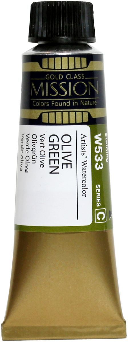 Mijello Акварель Mission Gold W533 Оливковый зеленый 15 мл MWC-W533MWC-W533Серия акварельных красок Корейского производителя Mijello - Mission Gold состоит из 105 цветов. Эта серия акварели была создана компанией Mijello в сотрудничестве с экспертами в области акварельной живописи. Цвета акварели серии Mission Gold это смеси высококачественных пигментов тонкого помола с высококачественными компонентами и гуммиарабиком. Эти краски предлагаются в традиционной для Корейских производителей тубах по 15 мл. Используйте краски Mijello серии Mission Gold для акварельной живописи по мокрому, они идеально подойдут для подобной техники работы с акварелью. Акварель Mijello Mission Gold будет отличным выбором как начинающему художнику, так и профессионалу.