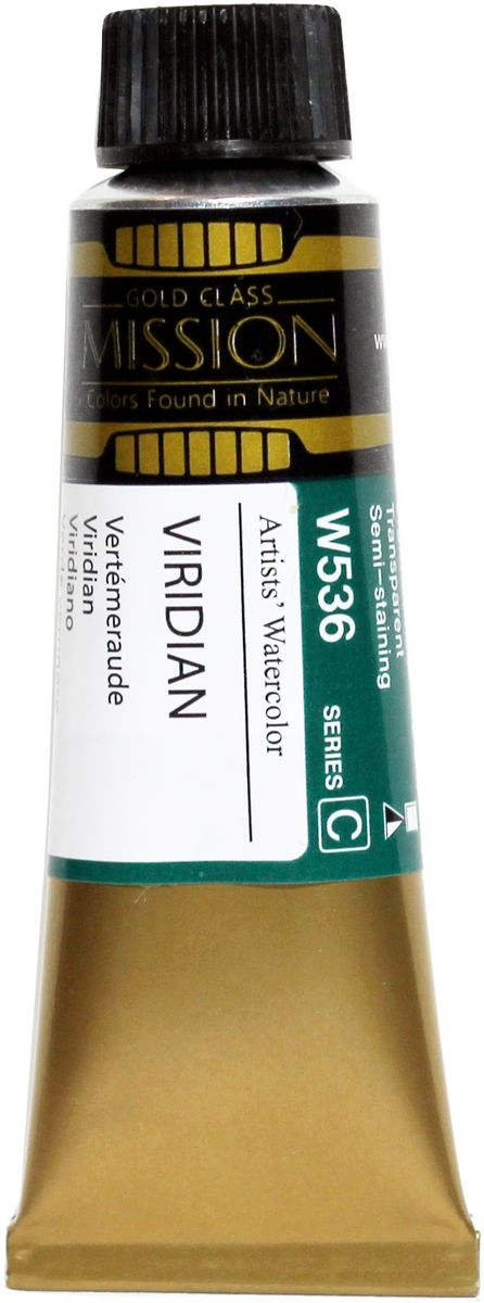 Mijello Акварель Mission Gold цвет W536 Виридиан 15 мл MWC-W536MWC-W536Серия акварельных красок Корейского производителя Mijello - Mission Gold состоит из 105 цветов. Эта серия акварели была создана компанией Mijello в сотрудничестве с экспертами в области акварельной живописи. Цвета акварели серии Mission Gold это смеси высококачественных пигментов тонкого помола с высококачественными компонентами и гуммиарабиком. Эти краски предлагаются в традиционной для Корейских производителей тубах по 15мл. Используйте краски Mijello серии Mission Gold для акварельной живописи по мокрому, они идеально подойдут для подобной техники работы с акварелью. Акварель Mijello Mission Gold будет отличным выбором как начинающему художнику, так и профессионалу.
