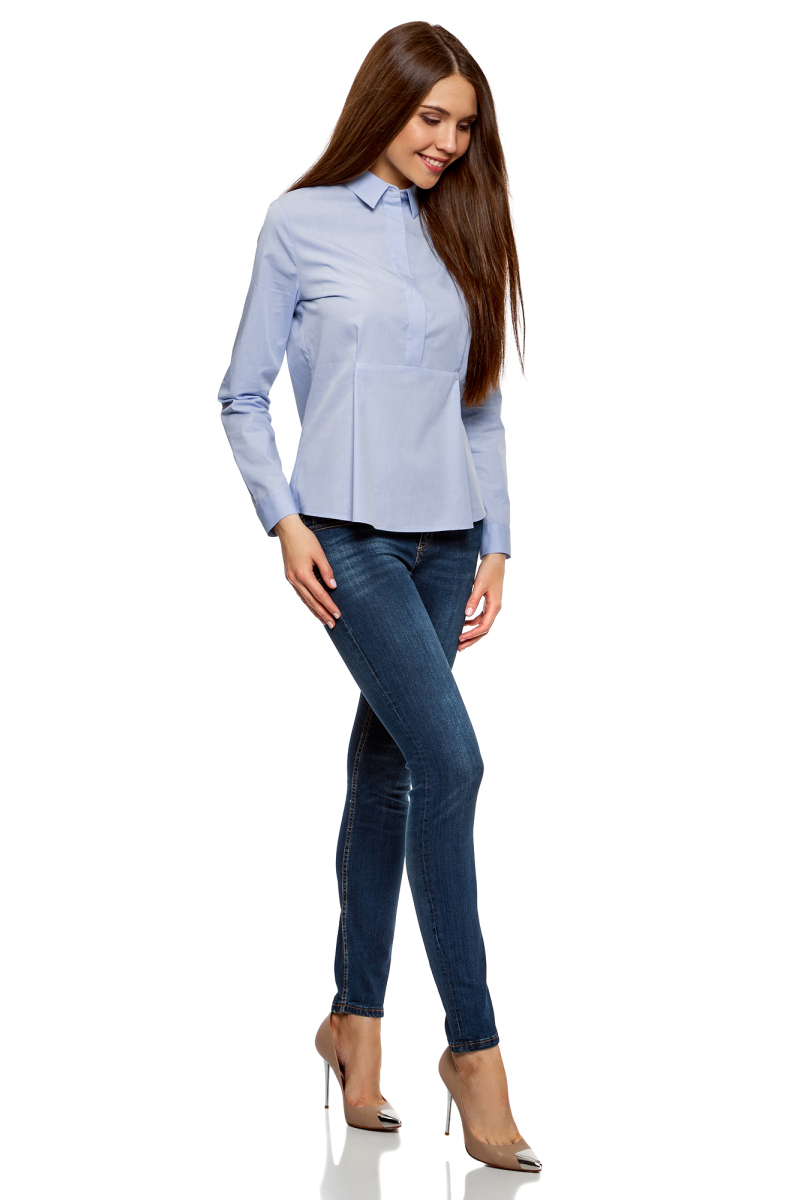 Блузка жен oodji Ultra, цвет: синий. 11411174/26468/7500N. Размер 40-170 (46-170)11411174/26468/7500N