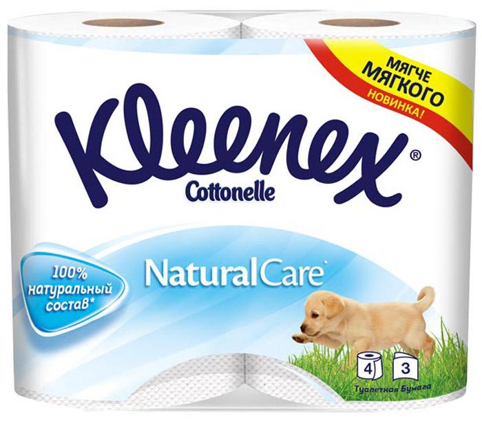 Туалетная бумага Kleenex Cottonelle, трехслойная, цвет: белый, 4 рулона + Подарок: Влажная туалетная бумага Kleenex Cottonelle, 12 шт kleenex салфетки