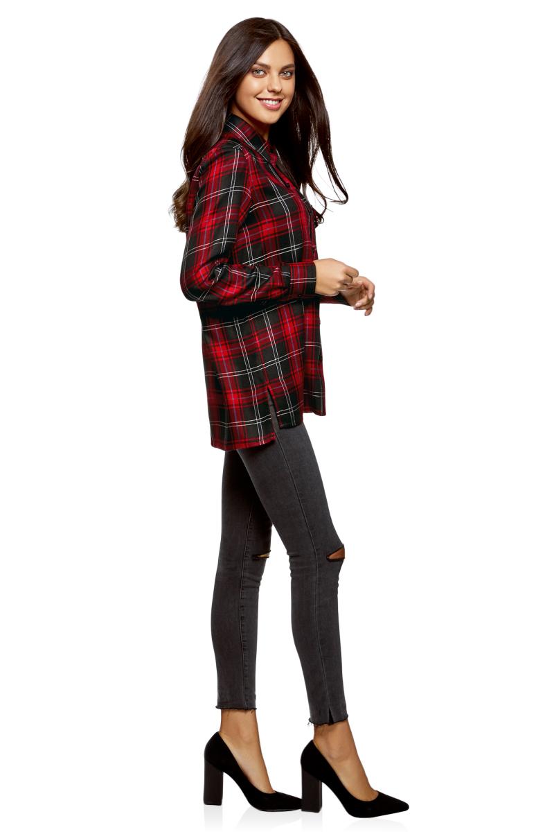 Рубашка женская oodji Ultra, цвет: черный, красный. 11411171/46974/2945C. Размер 36-170 (42-170)11411171/46974/2945CЖенская рубашка от oodji выполнена из натуральной вискозы. Модель с длинными рукавами и отложным воротником застегивается на пуговицы, на груди дополнена накладным кармашком с клапаном. Удлиненная спинка декорирована вышивкой.