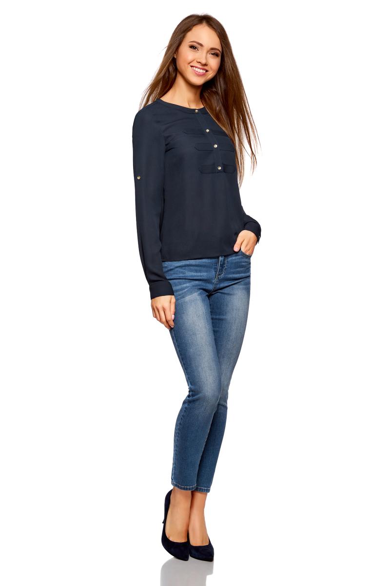 Блузка женская oodji Ultra, цвет: темно-синий. 11411062-1/43291/7900N. Размер 36-170 (42-170)11411062-1/43291/7900NСтильная блузка от oodji выполнена из шифона. Модель с длинными рукавами и круглым вырезом горловины на груди застегивается на пуговицы.