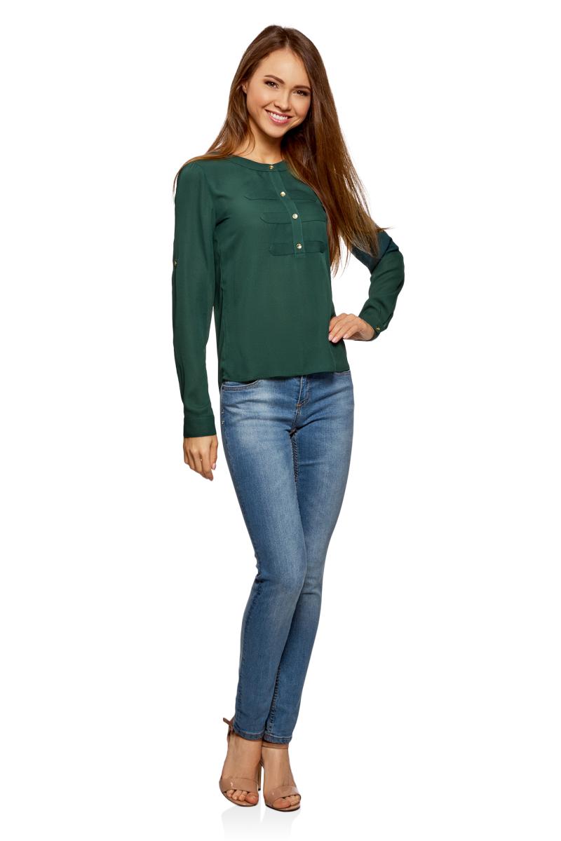 Блузка женская oodji Ultra, цвет: темно-изумрудный. 11411062-1/43291/6E00N. Размер 42-170 (48-170)11411062-1/43291/6E00N