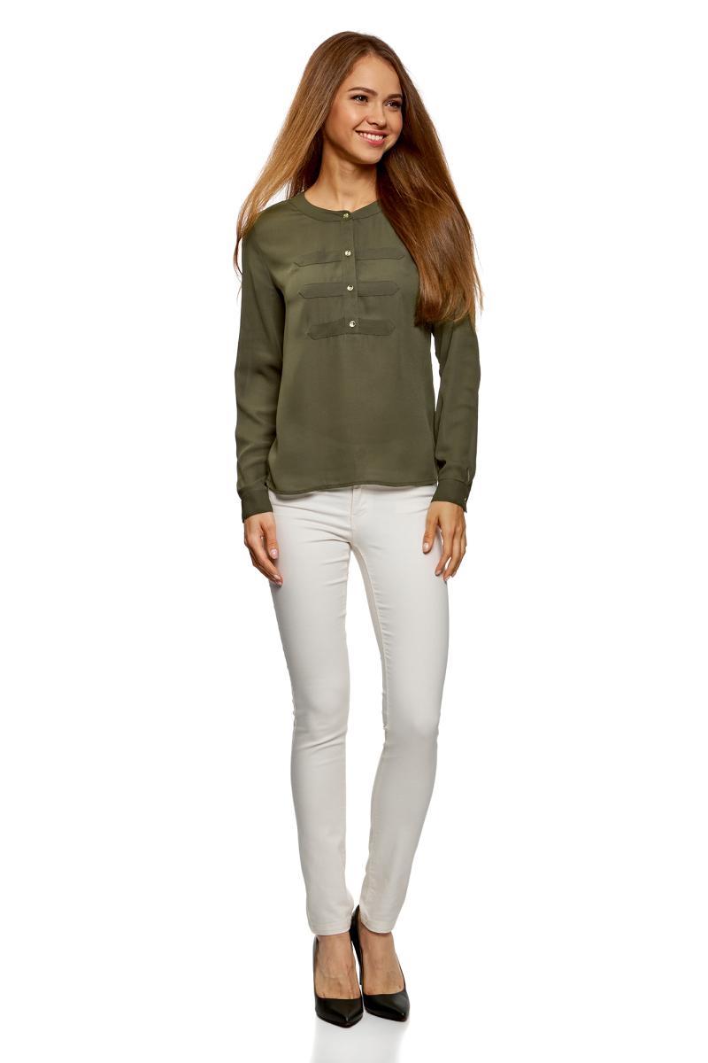 Блузка женская oodji Ultra, цвет: темный хаки. 11411062-1/43291/6800N. Размер 40-170 (46-170) блузка женская oodji ultra цвет белый 11411062 1 43291 1200n размер 36 170 42 170