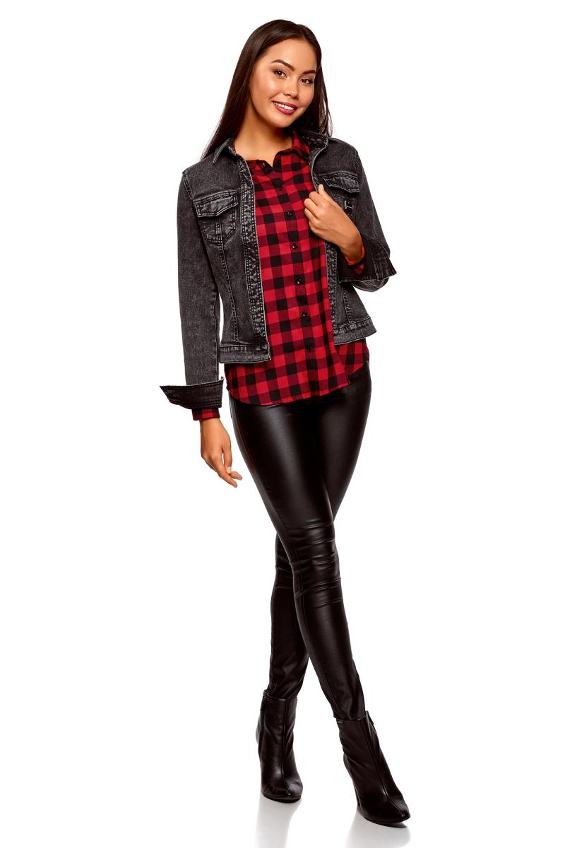 Рубашка женская oodji Ultra, цвет: черный, красный. 11401266/46975/2945C. Размер 42-170 (48-170)11401266/46975/2945CСтильная рубашка от oodji выполнена из натурального хлопка. Модель с отложным воротником и длинными рукавами застегивается на пуговицы, на груди дополнена накладным кармашком, оформленным аппликацией.