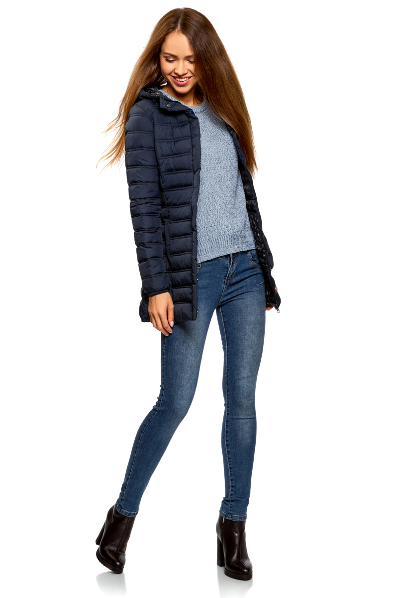 Куртка женская oodji Ultra, цвет: темно-синий. 10204058/33743/7900N. Размер 40-170 (46-170) рубашка женская oodji ultra цвет темно синий 11442121 5b 43609 7900n размер 40 170 46 170