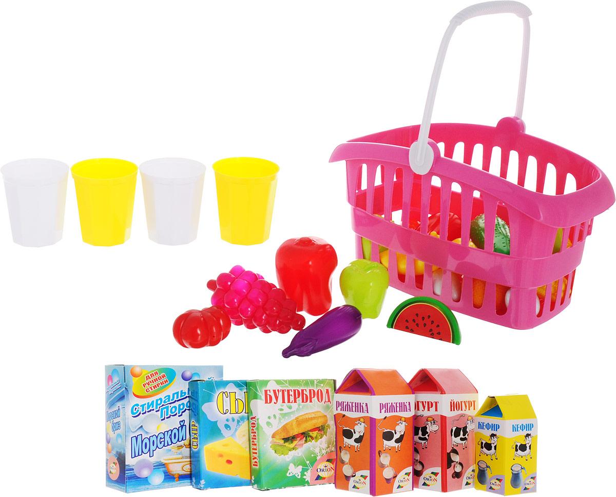 Орион Игрушечная корзина для супермаркета с продуктами цвет розовый casdon корзина для покупок