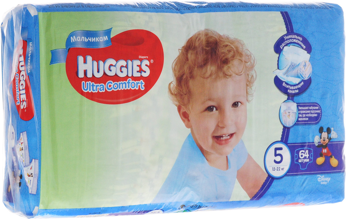 Huggies Подгузники для мальчиков Ultra Comfort 12-22 кг (размер 5) 64 шт universal eu plug ac power cable for pc laptop black 1 8m
