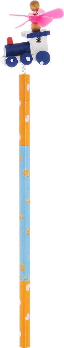 Карамба Карандаш простой Паровозик цвет корпуса оранжевый голубой4620770208237_оранжевый, голубойЭтот забавный чернографитный карандаш легко найдет себе место на вашем столе. Деревянный корпус окрашен в оранжево-голубые цвета с орнаментом и декорирован фигуркой в виде паровозика, крепящегося при помощи пружины. На крыше паровоза расположен крутящийся пропеллер.Характеристики:Материал: дерево, пластик. Длина карандаша (без фигурки): 17,7 см. Размер фигурки: 3 см х 5 см.