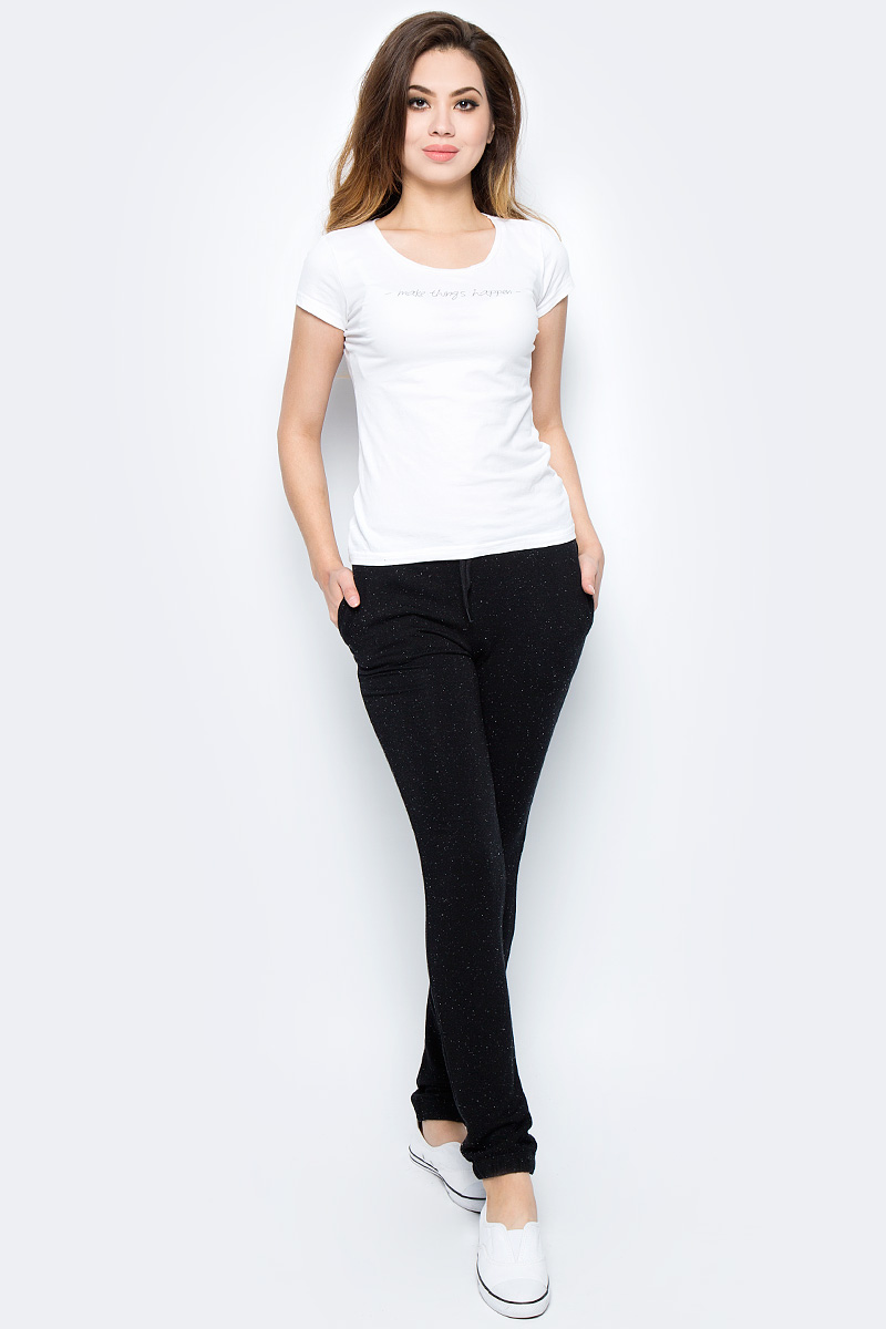 Брюки спортивные женские Sela, цвет: черный. Pk-115/855-7351. Размер S (44)Pk-115/855-7351Женские спортивные брюки от Sela выполнены из высококачественного материала. Спереди брюки дополнены двумя врезными карманами.