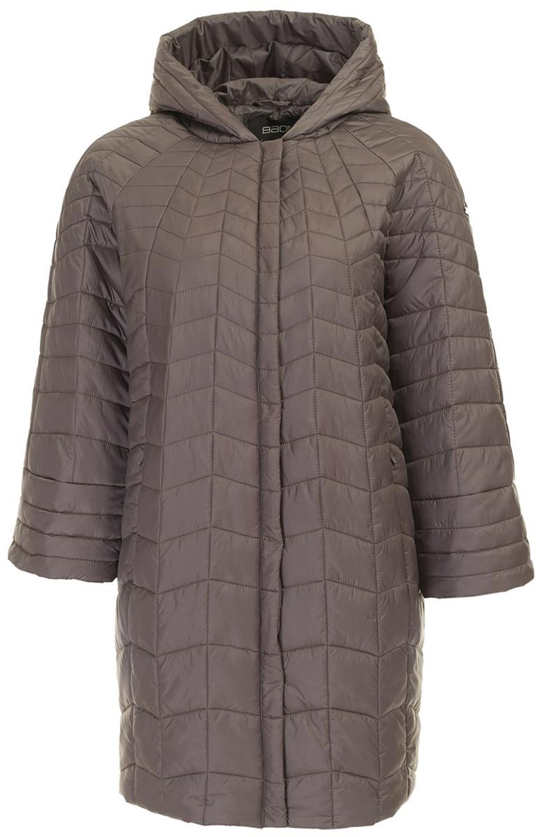 Куртка женская Baon, цвет: коричневый. B037648_Flint. Размер 56 (56)B037648_FlintСтильная куртка от Baon выполнена из высококачественного материала с утеплителем. Модель свободного кроя с рукавами 3/4 и втачным капюшоном застегивается на молнию. По бокам куртка дополнена втачными карманами на потайных молниях.