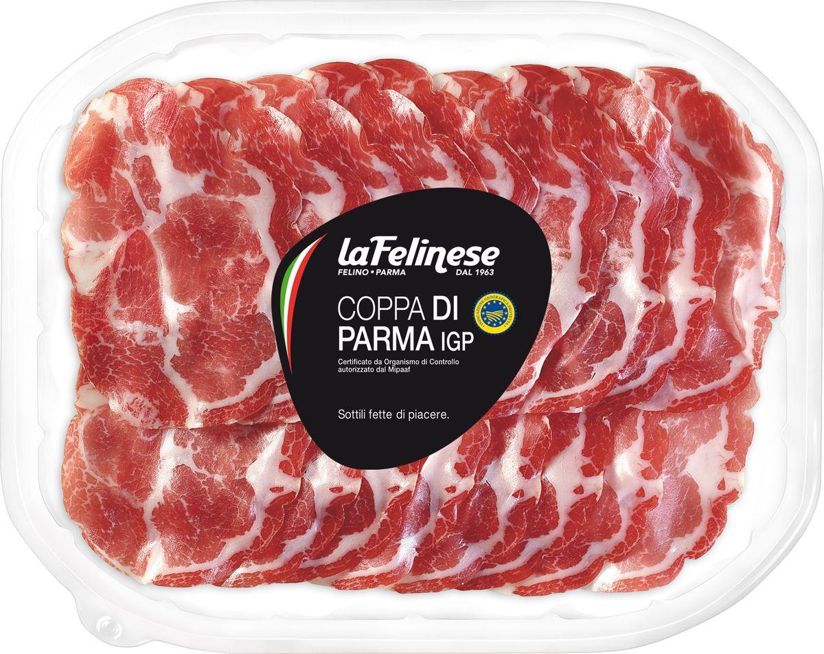 La Felinese Шейка пармская Коппа, нарезка, 100 г1058Шейка La Felinese - сыровяленая ветчина, изготовлена в соответствии с традициями провинции Парма. Идеальна для бутербродов и в качестве ингредиента для пиццы.Пищевая ценность на 100 г: белки - 27 г, жиры - 26 г, углеводы - 0,5 г.