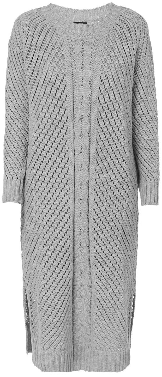 Платье Baon, цвет: серый. B457552_Silver Melange. Размер S (44)B457552_Silver MelangeСтильное вязаное платье от Baon выполнено из высококачественной пряжи. Модель свободного кроя с длинными рукавами и круглым вырезом горловины.