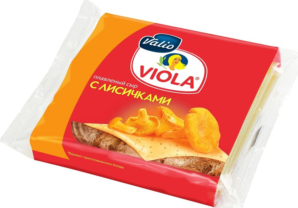 Valio Viola Сыр с лисичками, плавленый, в ломтиках, 140 г valio viola сыр плавленый сливочный 200 г