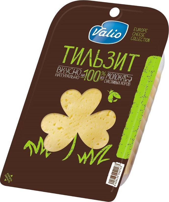 Valio Сыр Тильзит, 45%, 140 г904016Сырная коллекция Valio - это полутвердые сыры в нарезке, богатые полезными компонентами, содержащимися в натуральном молоке - кальцием и протеином. Без растительных жиров.Пищевая ценность на 100 г продукта (средние значения): белков - 27,0 г; углеводов - 0 г; жиров - 27,0 г; соли - 2,0 г.