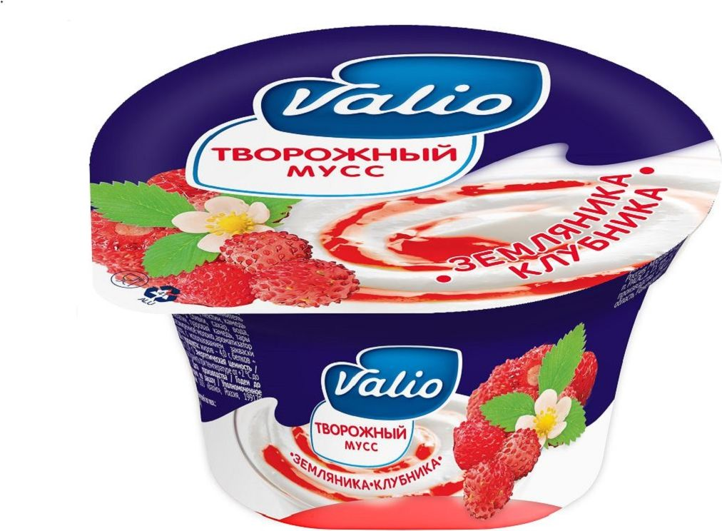 Valio Мусс творожный с клубникой и земляникой, 4%, 110 г конфэшн минутки вафли со вкусом сливок айриш крим 165 г