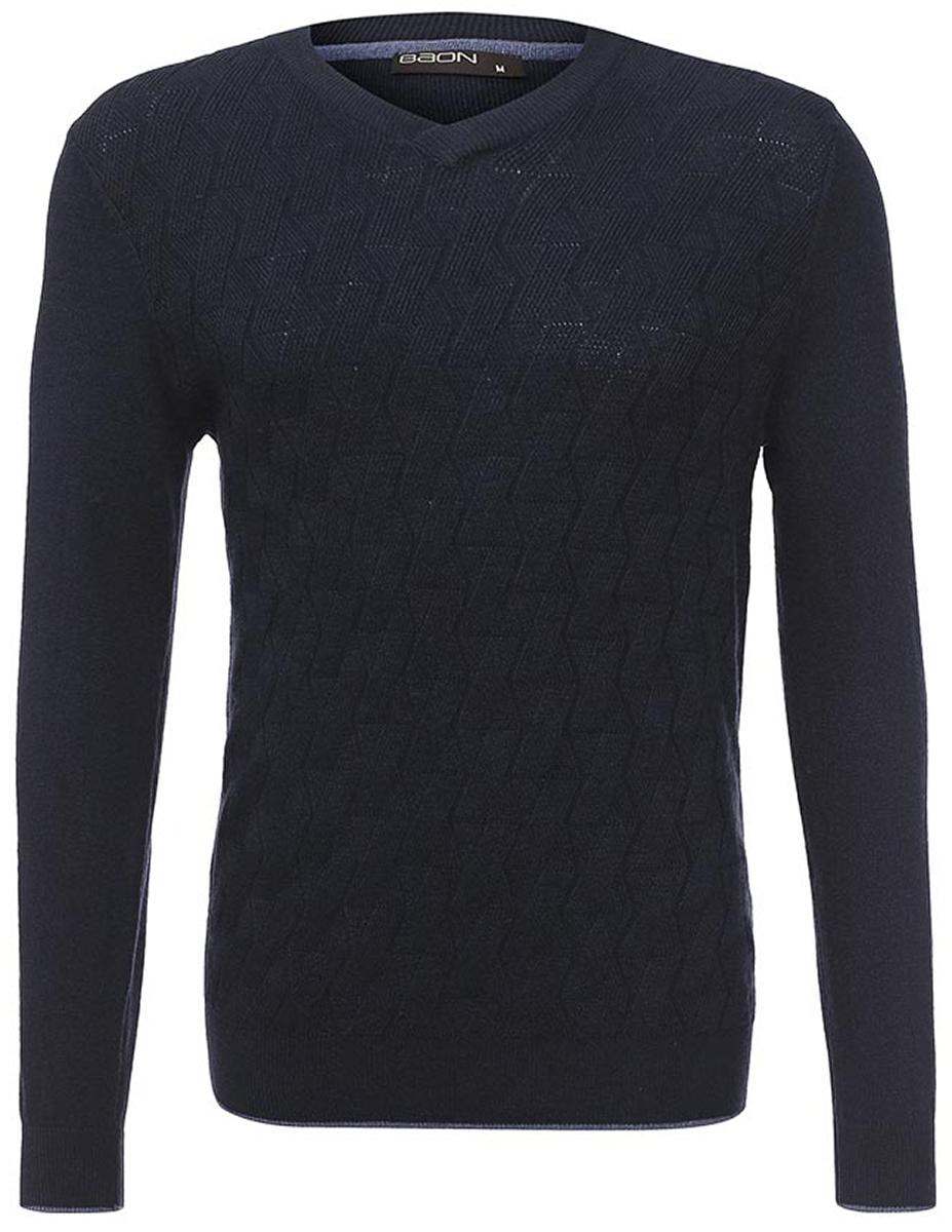 Пуловер мужской Baon, цвет: синий. B637563_Deep Navy. Размер XXL (54) водолазка мужская baon цвет синий b727502 baltic blue melange размер xxl 54