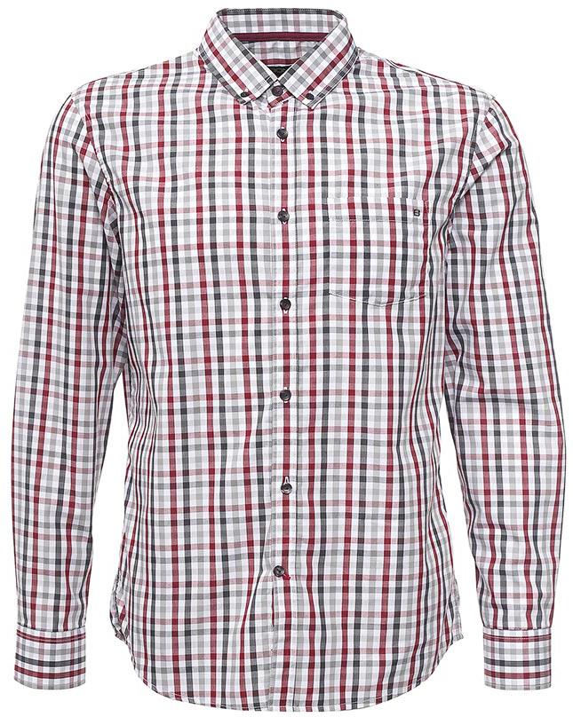 Рубашка мужская Baon, цвет: серый. B667506_Asphalt Checked. Размер XXL (54) водолазка мужская baon цвет синий b727502 baltic blue melange размер xxl 54