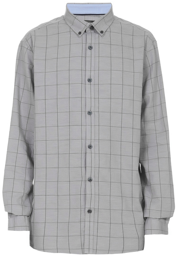 Рубашка мужская Baon, цвет: серый. B667535_Grey Checked. Размер M (48)B667535_Grey Checked